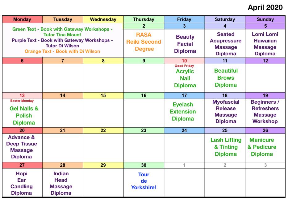 Class Dates April 2020