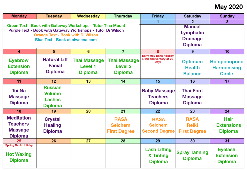 Class Dates May 2020